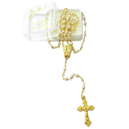 Golden rosary of beige pearls