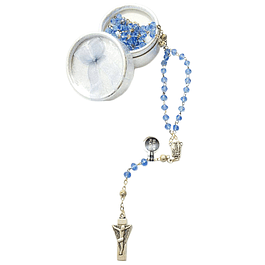 Transparent Blue Crystal Rosary