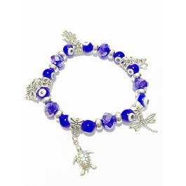 Crystal bracelet with various medals