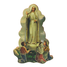 Wood Magnet with Apparition of Fatima