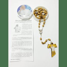 Terço Papa Francisco madeira de oliveira