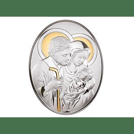 Placa Sagrada Família em bilaminado de prata