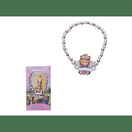 Pulseira pérolas rosas e Anjo
