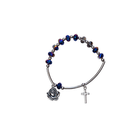 Blue crystal bracelet with rose