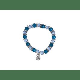 Pulseira bolas e cristais azuis