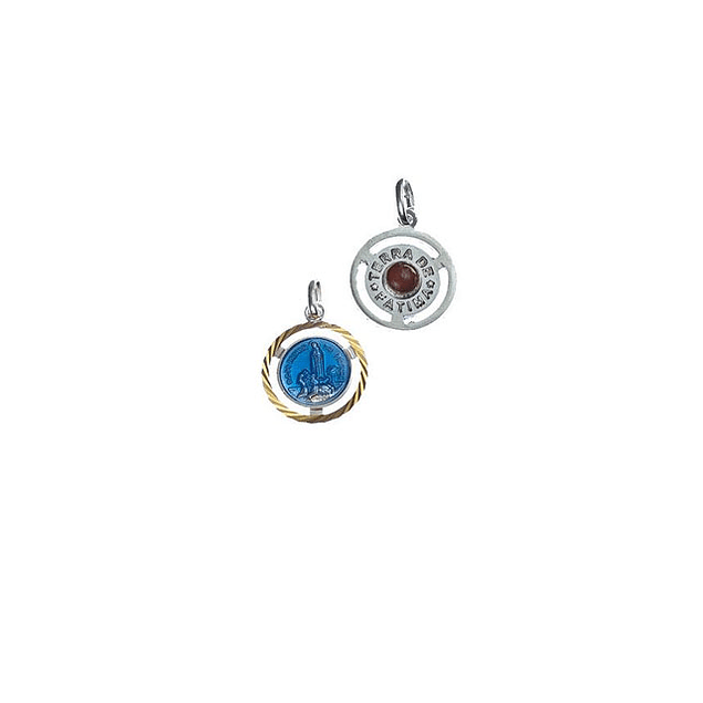Medalha de Fátima azul com terra