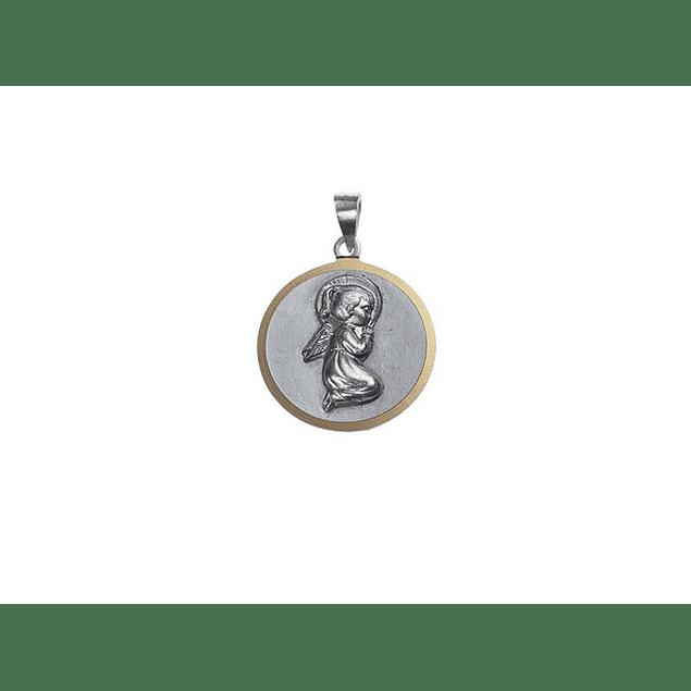 Medalha redonda grande com Anjo menina