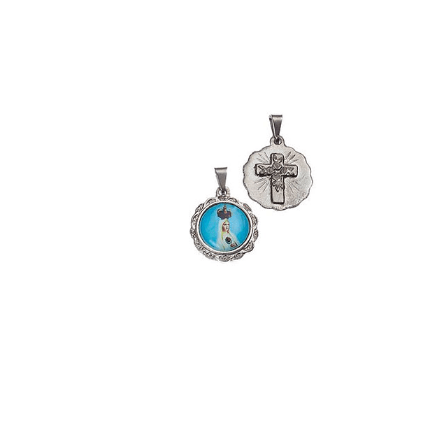 Medalha Redonda Pequena Niquelada Fátima Coroada