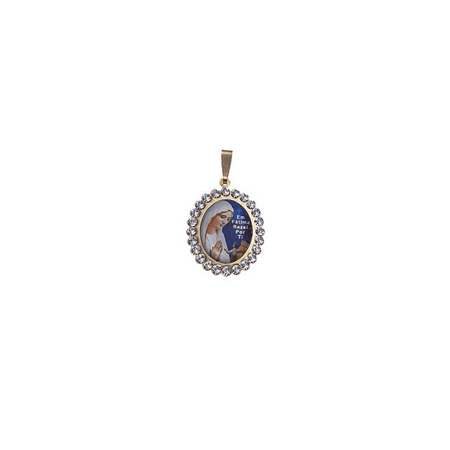 Medalha De Fátima Oval Grande Com Pedras