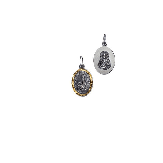 Medalha de Fátima Oval Média Lapidada