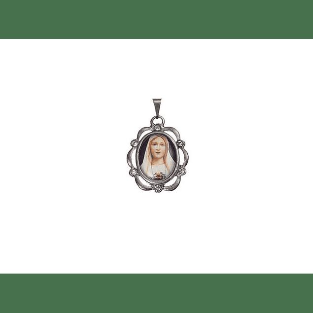 Medalha Niquelada Orla Pedras Coracão De Maria