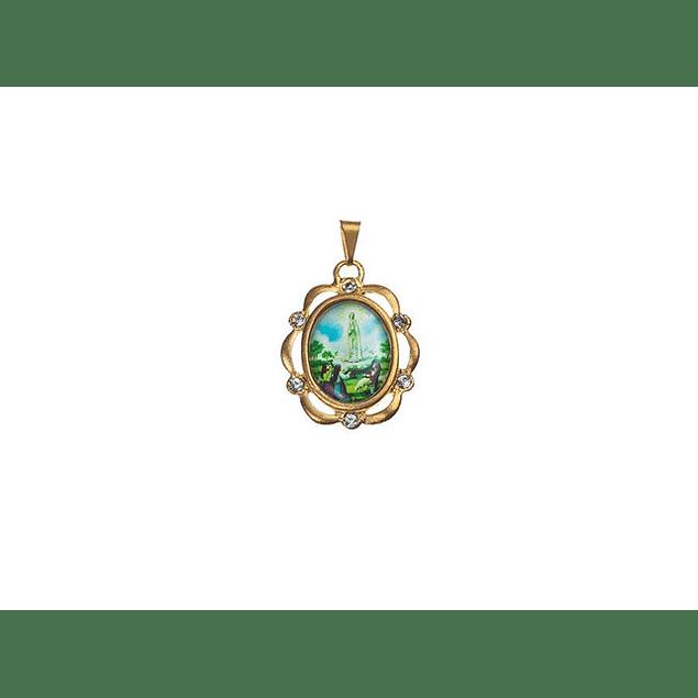 Medalha Dourada Orla Com Pedras Fátima Aparição