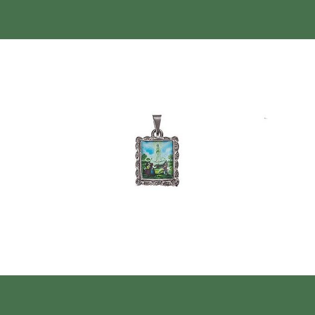 Medalha Rectangular Niquelada Fátima Aparição