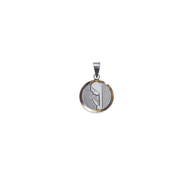 Medalha Redonda Média Com Rosto De Virgem