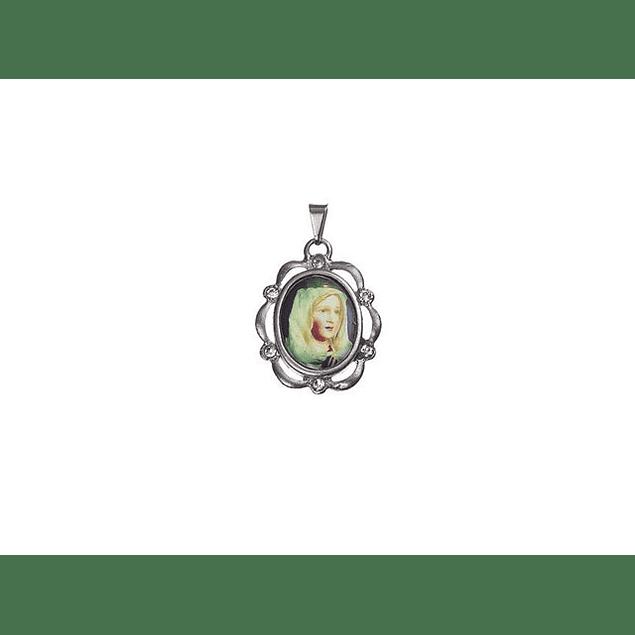 Medalha Niquelada Orla Pedras Fátima Com Véu