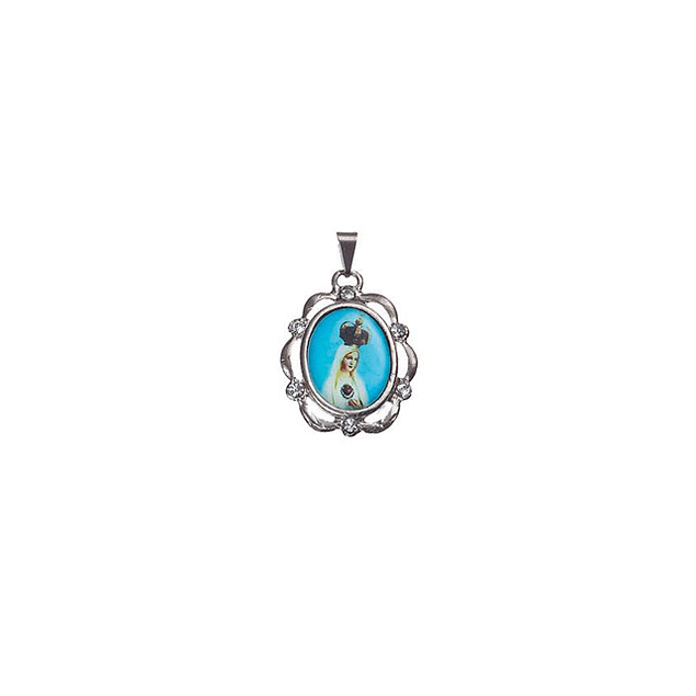 Medalha Niquelada Orla Pedras Fátima Coroada