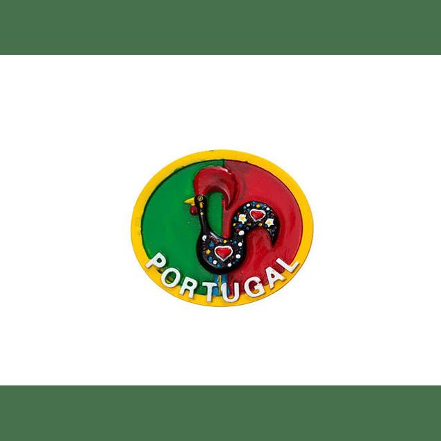 Íman de Madeira Galo com bandeira
