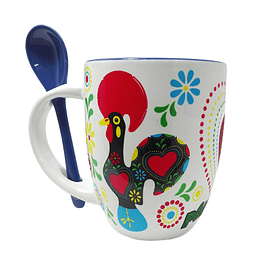 Mug with heart and rooster of Barcelos