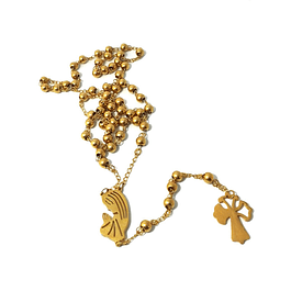 Gold plated rosary of lucky clover