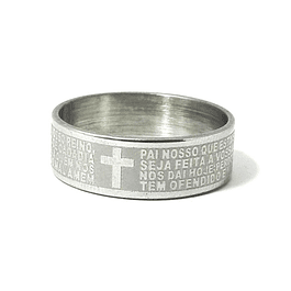 Religious ring with prayer Our Father