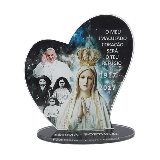 Placa decorativa com Aparição de Fátima e Papa Francisco