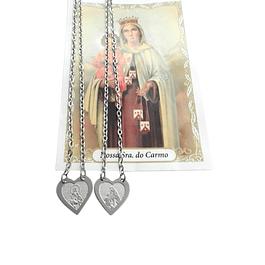 Escapulário de Nossa Senhora do Carmo em forma de Coração