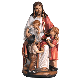 Wood statue of Jesus with the children
