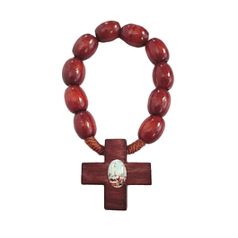 Wood decade rosary with Apparition of Fatima