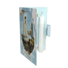 Catholic pack with soil and candle of Fatima