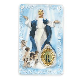 Prayer card of Our Lady of the Assumption