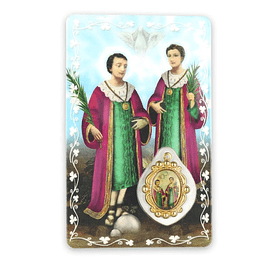 Prayer card of Saint Cosmas and Damian