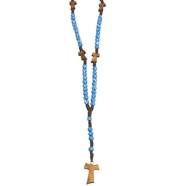 Colourful rosary with cross Tau