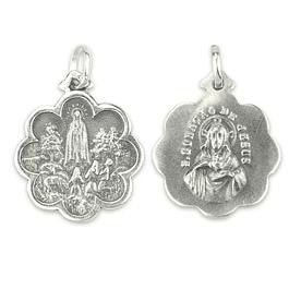 Medalha de Fátima forma de flor - Prata 925