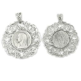 Medalha rendilhada com rosto de Nossa Senhora - Prata 925