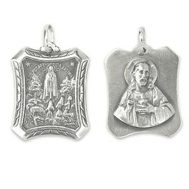 Medalha de Fátima retangular - Prata 925