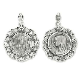 Medalha Rosto de Nossa Senhora e conchas - Prata 925