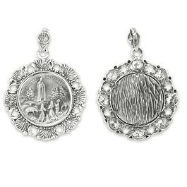 Medalha de Aparição de Fátima e conchas - Prata 925
