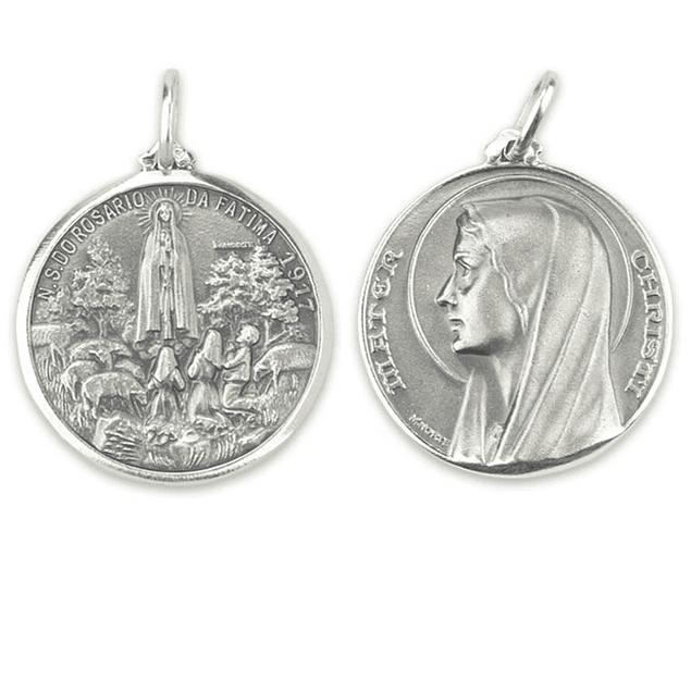 Medalha Nossa Senhora do Rosário de Fátima - Prata 925