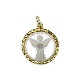 Medalha de Anjo da Guarda com coração - Prata 925