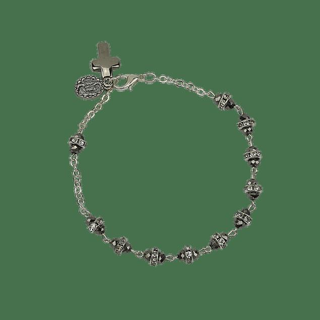 Pulseira de cristal com cruz