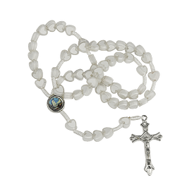 Rosary of white hearts with clasp