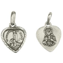 Medalha Coração de Fátima - Prata 925