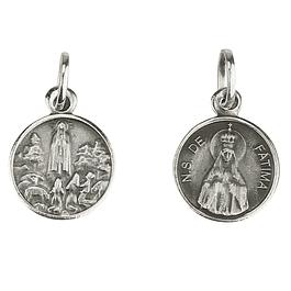 Medalha Fátima com coroa - Prata 925