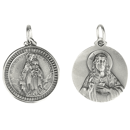 Medal of Our Lady of Mount Carmel and Heart - Silver 925