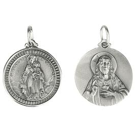Medalha Nossa Senhora do Carmo e Coração - Prata 925