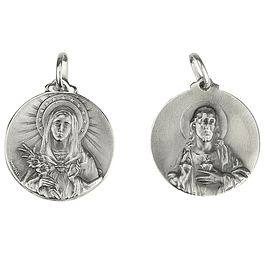 Medalha de Coração Sagrado de Maria e Jesus - Prata 925