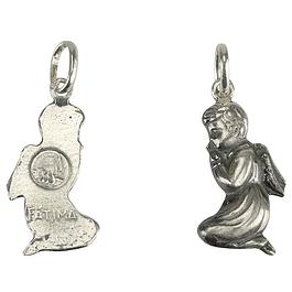 Medalha de Anjinho e Fátima - Prata 925