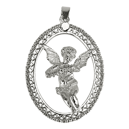 Angel Medal with Accordion - 925 Silver