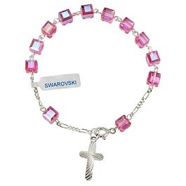 Pulseira cristal rosa Swarovski