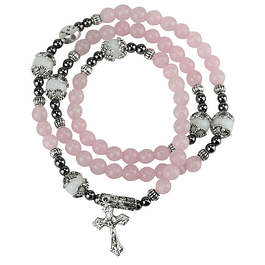 Catholic quartz rose rosary